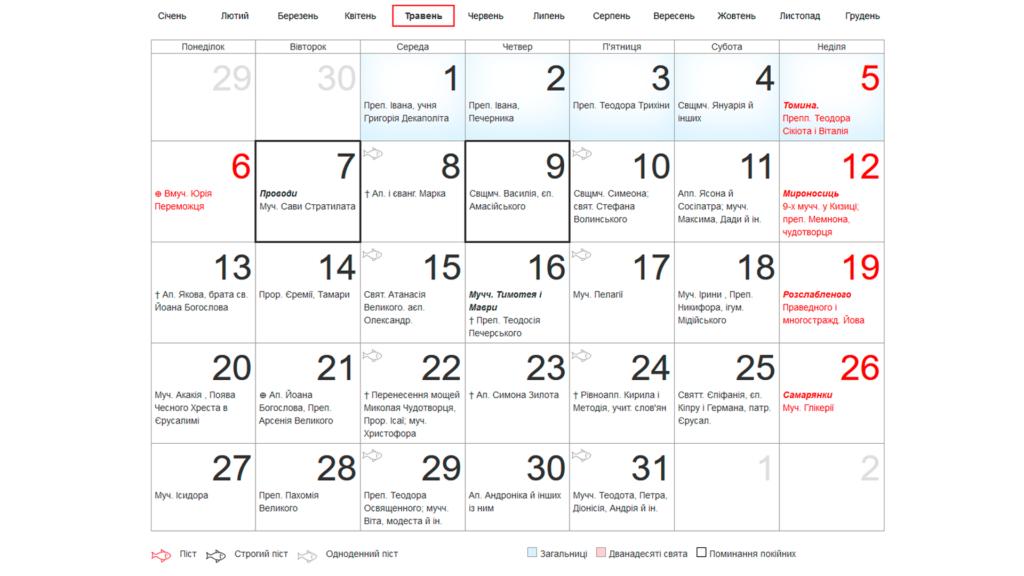 Календар постів